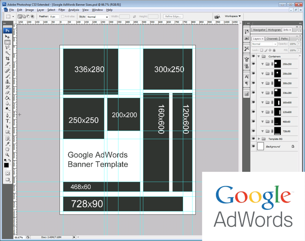 Google AdWords Remarketing Banner Size Template - Rise of the Web